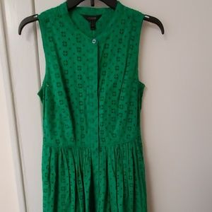 J Crew green cotton eyelet midi dress 2
